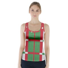 Fabric Green Grey Red Pattern Racer Back Sports Top