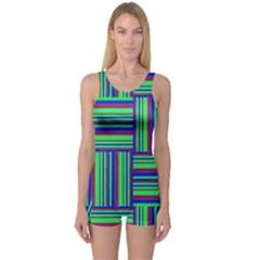 Fabric Pattern Design Cloth Stripe One Piece Boyleg Swimsuit