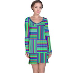 Fabric Pattern Design Cloth Stripe Long Sleeve Nightdress
