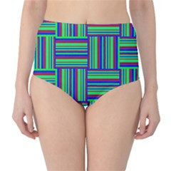 Fabric Pattern Design Cloth Stripe High-Waist Bikini Bottoms