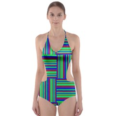 Fabric Pattern Design Cloth Stripe Cut-Out One Piece Swimsuit