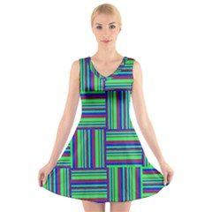 Fabric Pattern Design Cloth Stripe V Neck Sleeveless Skater Dress