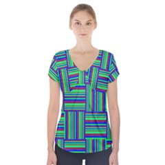 Fabric Pattern Design Cloth Stripe Short Sleeve Front Detail Top