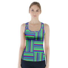 Fabric Pattern Design Cloth Stripe Racer Back Sports Top