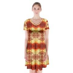 Fabric Design Pattern Color Short Sleeve V Neck Flare Dress