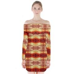 Fabric Design Pattern Color Long Sleeve Off Shoulder Dress