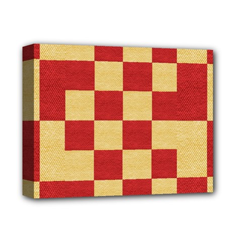Fabric Geometric Red Gold Block Deluxe Canvas 14  X 11