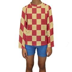 Fabric Geometric Red Gold Block Kids  Long Sleeve Swimwear