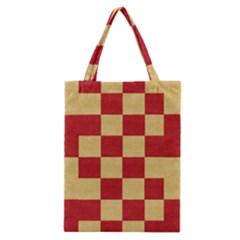 Fabric Geometric Red Gold Block Classic Tote Bag