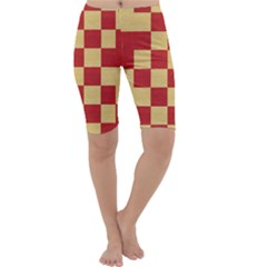 Fabric Geometric Red Gold Block Cropped Leggings