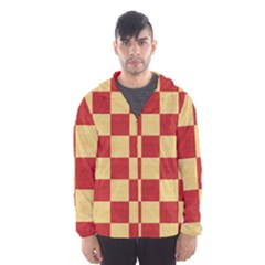 Fabric Geometric Red Gold Block Hooded Wind Breaker (Men)
