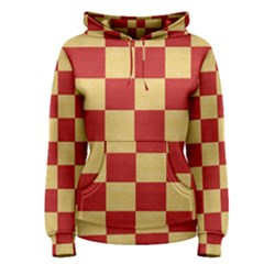 Fabric Geometric Red Gold Block Women s Pullover Hoodie