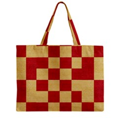 Fabric Geometric Red Gold Block Zipper Mini Tote Bag