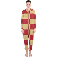Fabric Geometric Red Gold Block Hooded Jumpsuit (ladies)