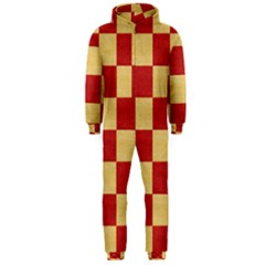 Fabric Geometric Red Gold Block Hooded Jumpsuit (men)