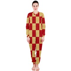 Fabric Geometric Red Gold Block OnePiece Jumpsuit (Ladies)