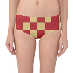 Fabric Geometric Red Gold Block Mid-Waist Bikini Bottoms