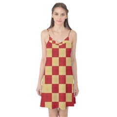 Fabric Geometric Red Gold Block Camis Nightgown