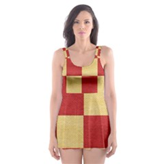 Fabric Geometric Red Gold Block Skater Dress Swimsuit