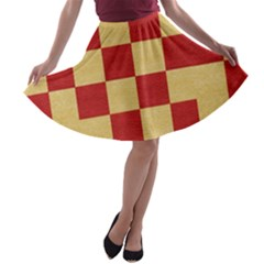 Fabric Geometric Red Gold Block A Line Skater Skirt