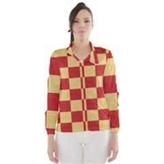 Fabric Geometric Red Gold Block Wind Breaker (Women)