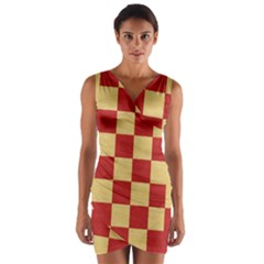 Fabric Geometric Red Gold Block Wrap Front Bodycon Dress