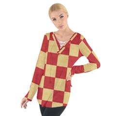 Fabric Geometric Red Gold Block Women s Tie Up Tee