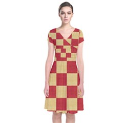 Fabric Geometric Red Gold Block Short Sleeve Front Wrap Dress