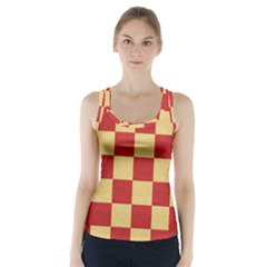 Fabric Geometric Red Gold Block Racer Back Sports Top
