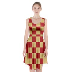 Fabric Geometric Red Gold Block Racerback Midi Dress