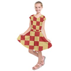 Fabric Geometric Red Gold Block Kids  Short Sleeve Dress