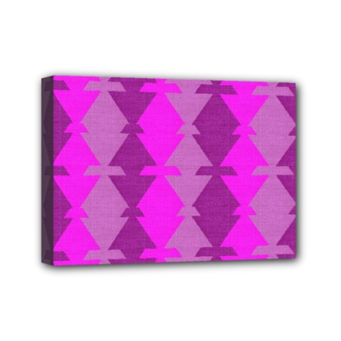 Fabric Textile Design Purple Pink Mini Canvas 7  x 5