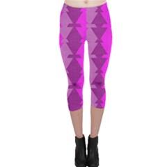 Fabric Textile Design Purple Pink Capri Leggings