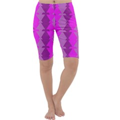 Fabric Textile Design Purple Pink Cropped Leggings