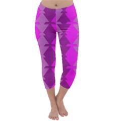 Fabric Textile Design Purple Pink Capri Winter Leggings