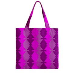 Fabric Textile Design Purple Pink Zipper Grocery Tote Bag