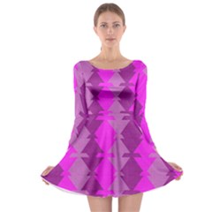 Fabric Textile Design Purple Pink Long Sleeve Skater Dress