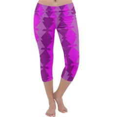 Fabric Textile Design Purple Pink Capri Yoga Leggings