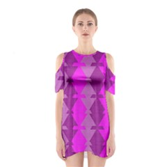 Fabric Textile Design Purple Pink Shoulder Cutout One Piece