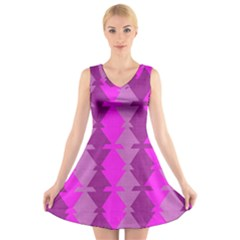 Fabric Textile Design Purple Pink V Neck Sleeveless Skater Dress