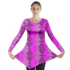Fabric Textile Design Purple Pink Long Sleeve Tunic