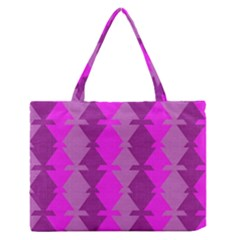 Fabric Textile Design Purple Pink Medium Zipper Tote Bag