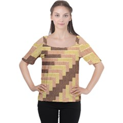 Fabric Textile Tiered Fashion Women s Cutout Shoulder Tee