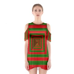 Fabric Texture 3d Geometric Vortex Shoulder Cutout One Piece