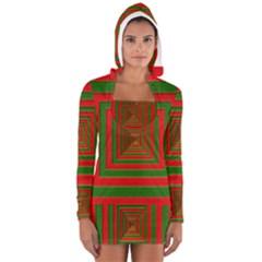 Fabric Texture 3d Geometric Vortex Women s Long Sleeve Hooded T-shirt