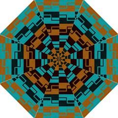 Fabric Textile Texture Gold Aqua Folding Umbrellas