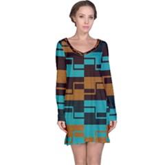 Fabric Textile Texture Gold Aqua Long Sleeve Nightdress