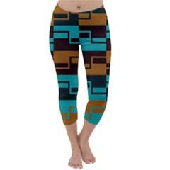 Fabric Textile Texture Gold Aqua Capri Winter Leggings