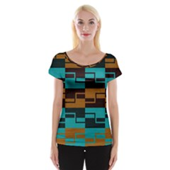 Fabric Textile Texture Gold Aqua Women s Cap Sleeve Top