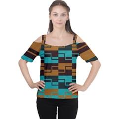 Fabric Textile Texture Gold Aqua Women s Cutout Shoulder Tee